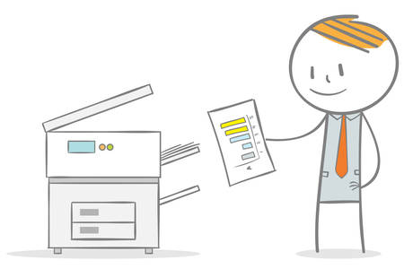 Doodle stick figure:Businessman copying a document with photocopier