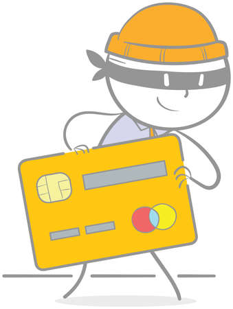 Doodle illustration of criminal holding a credit card Vectores
