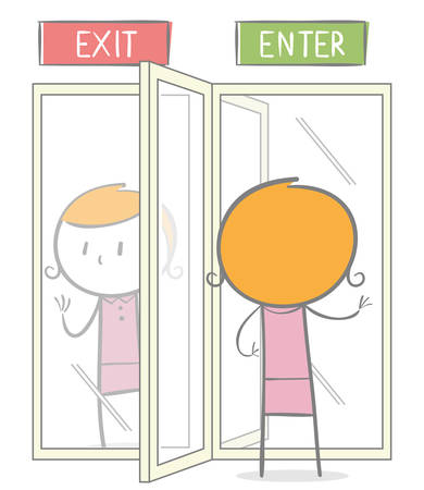 Doodle stick figure: A woman entering a revolving door while on the other side whe want to getting out.