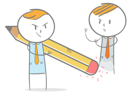 Doodle stick figure:Businessman dismiss competitor with eraser Vectores