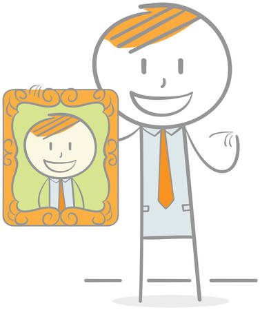 Doodle illustration of businessman holding and showing a photo of him
