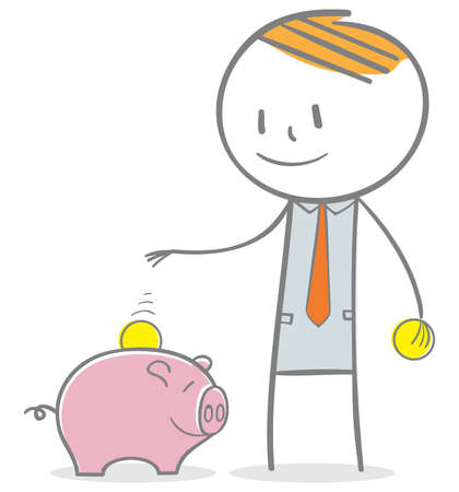 Doodle stick figure: Businessman investing money concept. collecting money to piggy bank.