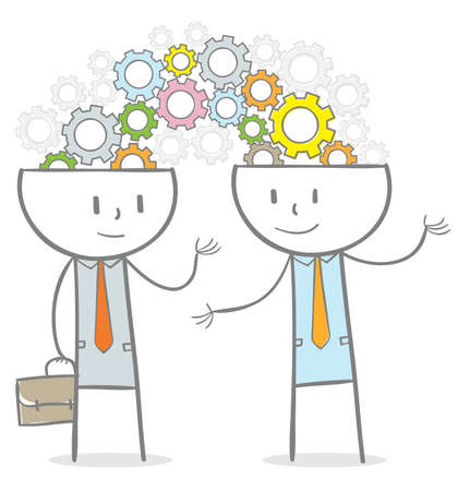 Doodle stick figure: Businessperson connected with idea, gears coming out from heads