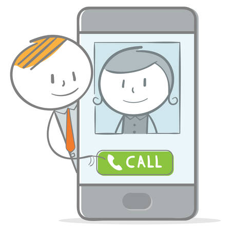 Doodle stick figure: Make a call with mobile phone Vector Illustratie