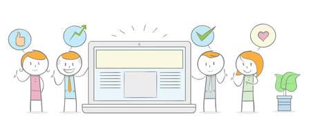 Chiffre de bâton de griffonnage : personnes donnant un témoignage positif à un concept de site Web.