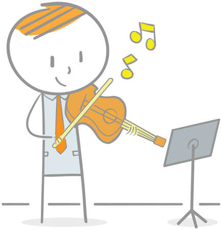 Doodle illustration of businessman playing violin