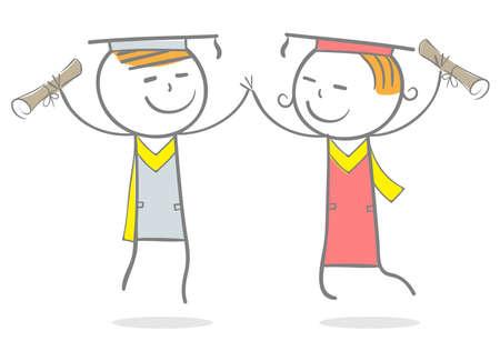 Doodle stick figure:Joy teenagers after graduation