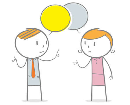 Doodle stick figure: A business man and business woman talking with a speech bubbles over their head.