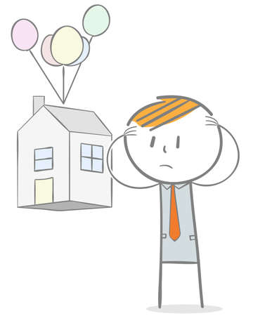Doodle stick figure: Lost home concept. Sad Businessman seeing his house taken away.