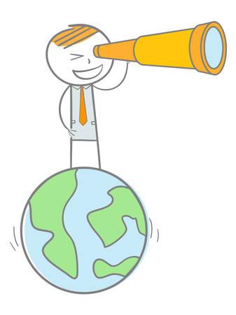 Doodle stick figure standing on a world globe looking through binocular