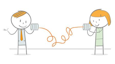 Doodle-stickfiguren die met elkaar communiceren via een blikje telefoon Vector Illustratie