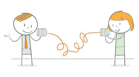 Doodle Strichmännchen kommunizieren miteinander über Blechdosentelefon Vektorgrafik