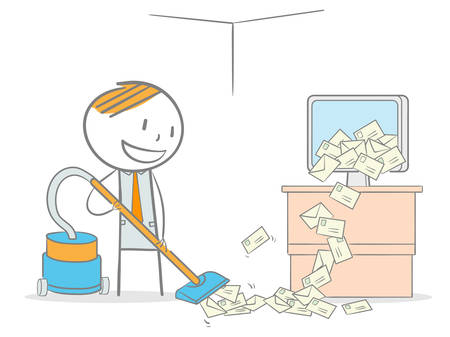 Doodle stick figure vacuum cleaning a computer overloaded by spam email