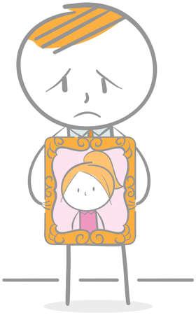 Doodle illustration of grieving man holding photo frame Illustration