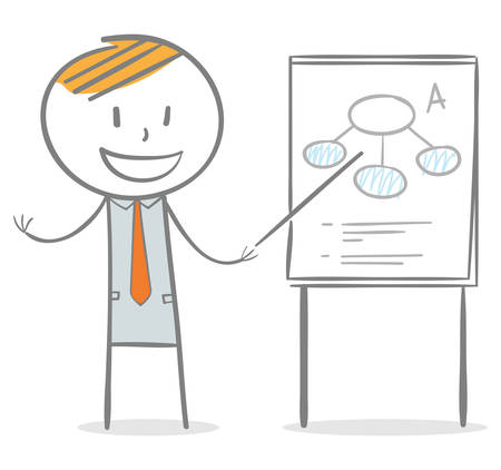 Doodle stick figure: Businessman holding and pointing a stick to a paperboard Vector Illustratie