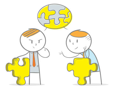 Doodle stick figure:Two businessperson in discussion to solve the puzzle