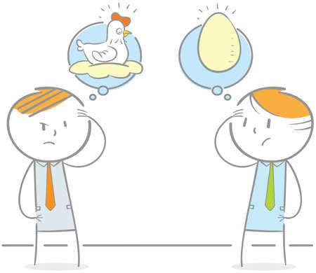 Gekritzelillustration von zwei Leuten, die Huhn und Ei debattieren