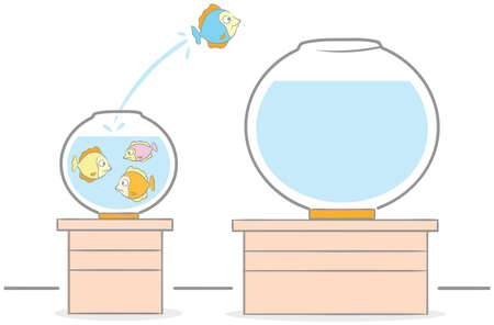 Doodle illustration of fish jump from crowded fish bowl to larger fish bowl