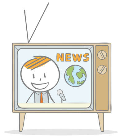 Doodle stick figure:Watching news programme on television