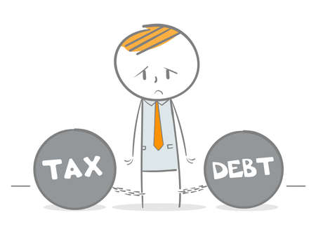 Doodle stick figure dragging a tax and debt metal balls and chains