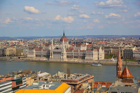 View on the Hungarian Parlament from the Pest part of Budapest