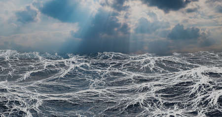 3d illustration ocean, with foam wave in light clouds Stock Photo