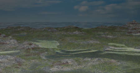 3d rendered, green land flooded with water