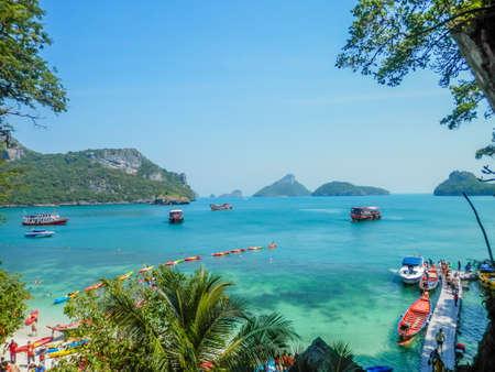 Aerial view of the tropical lagoon, Angthong Marine Park, Thailand