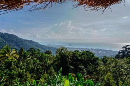 わらの屋根のビュー ポイントから熱帯の海の景色 写真素材