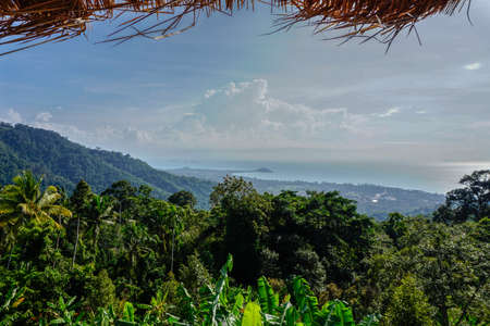Tropical sea view from view point with straw roof Banco de Imagens