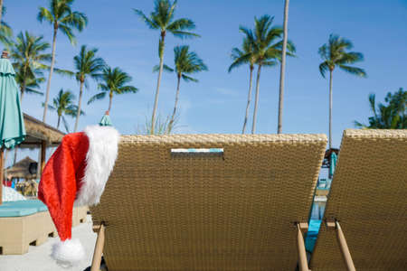 Santa Claus Hat Hanging on Sunbed shot with a Sony a6300