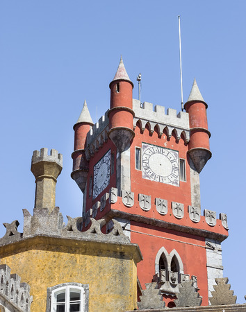 pena: The top of Pena National Palace in Sintra, Portugal