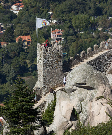 moors: SINTRA, PORTUGAL - August 17, 2012  Tower of the Castle of the Moors in Sintra, Portugal