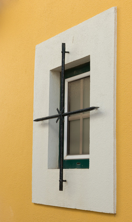 updating: Steel decorative element at a house window in Cascais, Portugal, near Lisbon