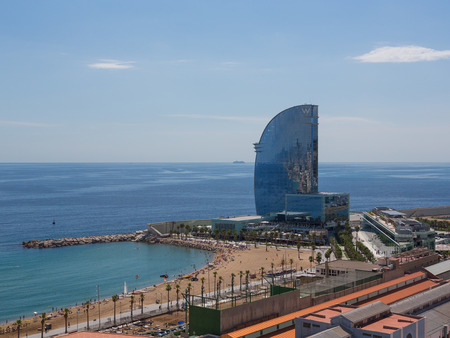 conducted: The hotel building in port in Barcelona, Spain