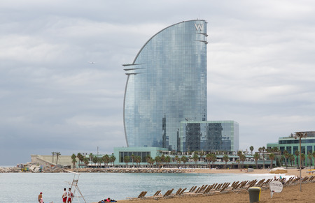 The hotel building in port Vell in Barcelona, Spain Editorial