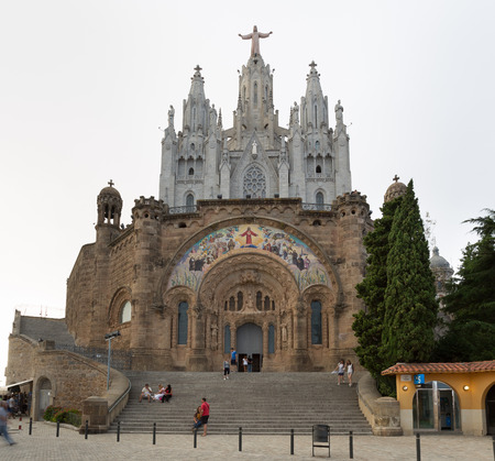 pacification: Cathedral of Sacred Heart on Tibidabo mountain in Barcelona