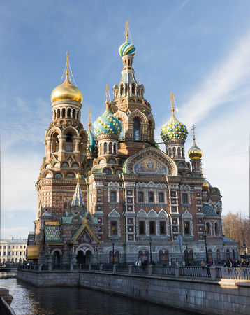 Church of the Savior on Blood - Church of the Resurrection in St  Petersburg at evening lighting  Stock Photo