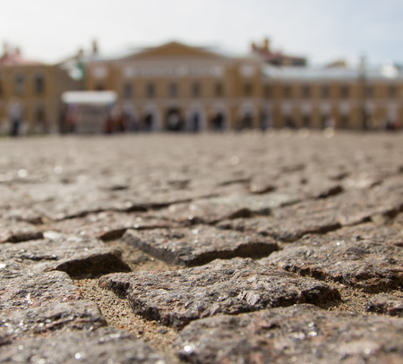 The stone blocks laid in the Peter and Paul Fortress in St  Petersburg  Stock Photo
