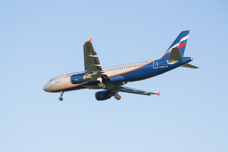 rapprochement: The Airbus A320 plane of airline Aeroflot sits down at the Sheremetyevo airport Editorial