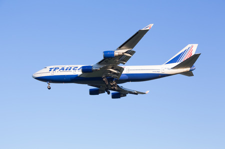 rapprochement: The Boeing-747 plane of Transaero airline sits down at the Sheremetyevo airport