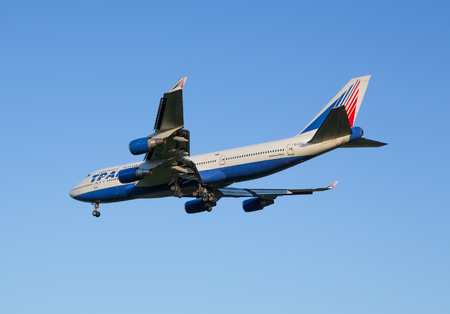 rapprochement: The Boeing-747 plane of Transaero airline decreases before landing at the Sheremetyevo airport Editorial