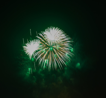 gunfire: The evening fireworks in the sky in honor of celebration of Victory Day