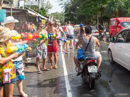 Phuket, Thailand - April 13, 2017: Celebration of the Thai Buddhist New Year - Songkran