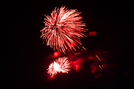 Evening fireworks in honor of a holiday the Victory Day Stock Photo