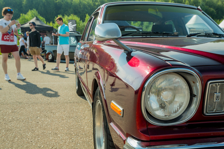 Moscow, Russia - June 23, 2018: JapanDays festival of japan cars - with serial and customized muscle cars