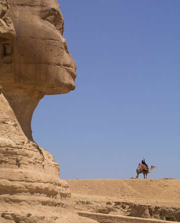 Sphinx and bedouin       Stock Photo