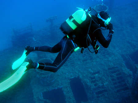 Scuba Diver around Wreck, Red Sea