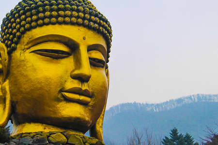 cabeza de buda: estatua de cabeza de Buda en el templo waujeongsa
