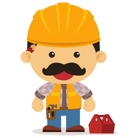 A cute builder with mustache Illustration